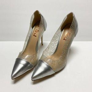 FSJ Clear PVC Pointed Toe Stiletto High Heel Pump
